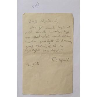 TIN UJEVIĆ ORGINALNI POTPIS 1953.